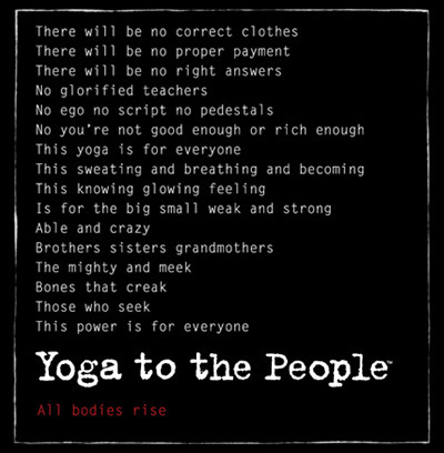 Yoga to the People text