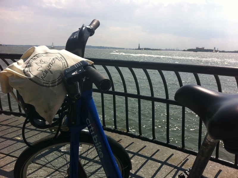 Citibike through NYC view on Statue of Liberty