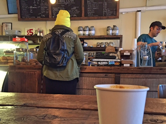 Coffee counter at Swallow Cafe Bushwick Brooklyn