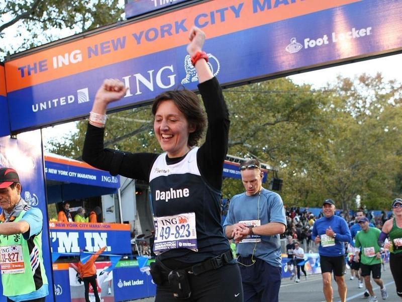 Daphne crosses finishline New York City marathon