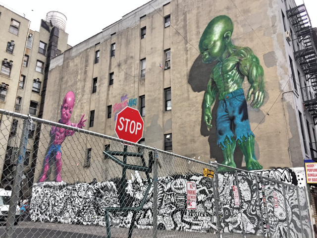 Incredible Hulk Boy streetart run Lower East Side
