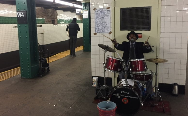Prince Osula on drums in the NY subway