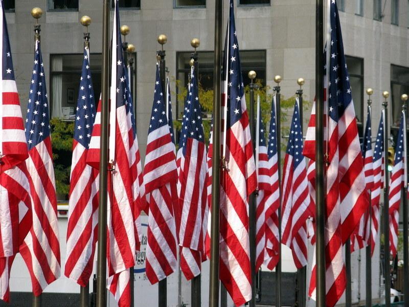 USA vlaggen bij Rockefeller Center